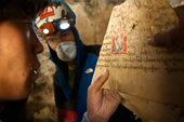 Buddhist texts and wall paintings found