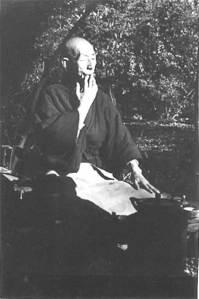 Yokoyama Roshi playing a leaf
