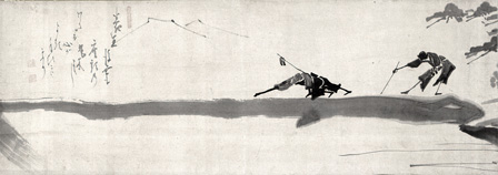 Hakuin Ekaku, 1685-1768, Two Blind Men on a Bridge. Ink on paper, 11 x 33 in. Man'yo-an Collection.