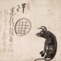 Hakuin Ekaku, 1685-1768, Ox and Window. Ink on paper, 17.3 x 23.4 in. Ginshu Collection. Photo: Maggie Nimkin.