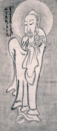 Shaka. Ink on paper, 52.6 x 23.5 in. Shinwa-an Collection.