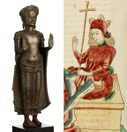 What does a 12th-century bronze sculpture from Cambodia have in common with a 15th-century manuscript from Germany? Both, surprisingly, relate to the story of the Buddha.