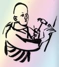 Monk with hammer. © Marcelle Hanselaar