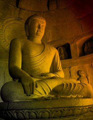 Korean stone Buddha in earth-touching posture