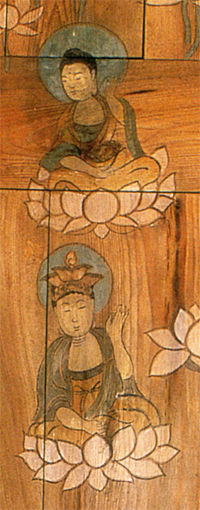 Detail from a painted Door at BokwanSa, Korea