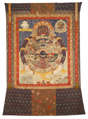 Wheel Life. A traditional Tibetan thangka showing the bhavacakra. This thangka was made in Eastern Tibet and is currently housed in the Birmingham Museum of Art.