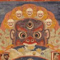 Wheel Life Lord Death. A traditional Tibetan thangka showing the bhavacakra. This thangka was made in Eastern Tibet and is currently housed in the Birmingham Museum of Art.