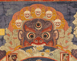 Wheel Life detail — Lord of Death. A traditional Tibetan thangka showing the bhavacakra. This thangka was made in Eastern Tibet and is currently housed in the Birmingham Museum of Art.