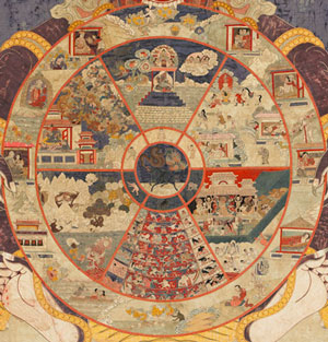 Wheel Life detail. A traditional Tibetan thangka showing the bhavacakra. This thangka was made in Eastern Tibet and is currently housed in the Birmingham Museum of Art.