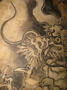Bishamon-do's glaring Tenjo-ryu (Ceiling Dragon). Painted by Kano Eijyaku. Photo © @KyotoDailyPhoto