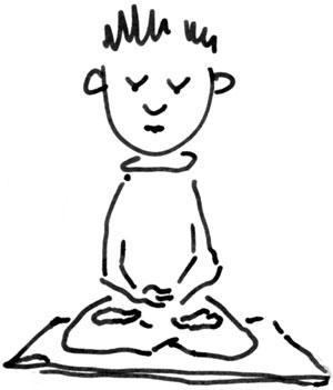 Seduto in meditazione buddista