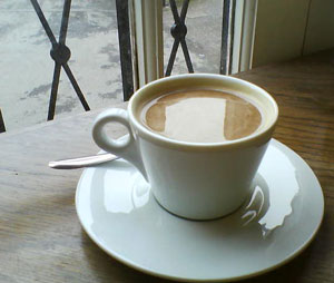 Teacup in a café, Exeter, Devon.