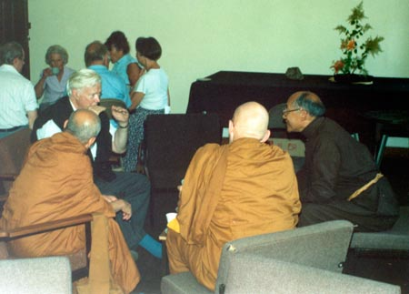 Left to right: Trevor Leggett, Ven Silananda, Ajahn Sumedho, and Ato Rinpoche