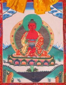 Buddha Amitābha in Tibetan Buddhism, traditional Thangka. wikipedia.org