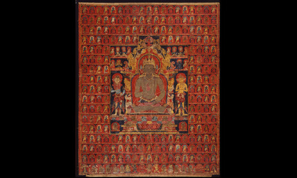 The cosmic Buddha Vairochana, approx. 1275–1350. Tibet, Sakya Monestary. Thangka; colors on cotton. Museum purchase, City Arts Trust Fund, 1991.1. © Asian Art Museum, San Francisco