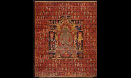 The cosmic Buddha Vairochana, approx. 1275–1350. Tibet, Sakya Monestary. Thangka; colors on cotton. Museum purchase, City Arts Trust Fund, 1991.1. © Asian Art Museum, San Francisco