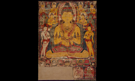 The cosmic Buddha Vairochana, approx. 1100-1200. Tibet, Tsang. Thangka; colors on cotton. Acquisition made possible by the Avery Brundage estate, Sharon Bacon, Mona J. Bolcom, Dr. Edward P. Gerber, Jane R. Lurie, Margaret Polak, Therese and Richard Schoofs, Dr. and Mrs. William Wedemeyer, and anonymous friends of the Asian Art Museum, 1992.58. © Asian Art Museum, San Francisco