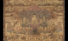 Taima mandala, approx. 1300–1400. Japan. Hanging scroll; ink, colors and gold on silk. The Avery Brundage Collection, B61D11+.