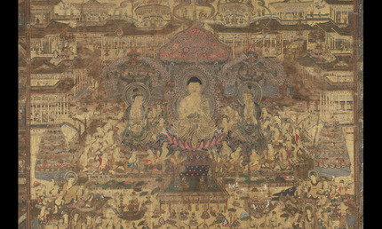 Detail from Taima mandala, approx. 1300–1400. Japan. Hanging scroll; ink, colors and gold on silk. The Avery Brundage Collection, B61D11+. © Asian Art Museum, San Francisco