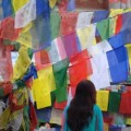 Mustang girl and prayer flags. Photo © Lisa Daix
