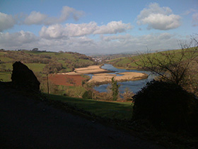 The view down the river Dart from Sharpham to Totnes