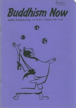 Cover of the February 1994 Buddhism Now. Art © Marcelle Hanselaar