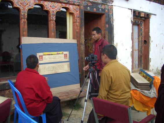 Digitising manuscripts at Gangtey Monastery in Bhutan, British Library endangeredarchives project. @bl_eap