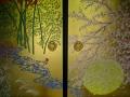Enko-ji's (圓光寺) 'Four Seasons' (四季草花図 -Shikisokazu) Fusuma (襖) painted by Watanabe Akio. @KyotoDailyPhoto