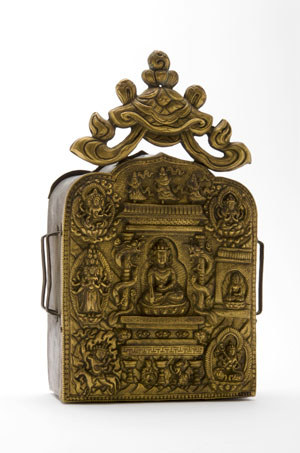 A portable shrine containing mantras