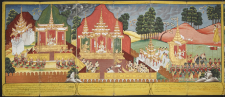 Prince Siddhartha is depicted on the throne in his palace