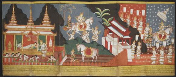 The Great Departure: Prince Siddhartha rides out of the palace.