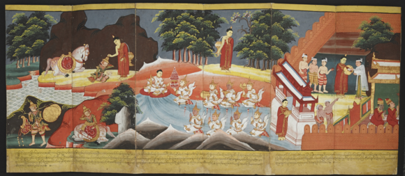 Prince Siddhartha instructs his charioteer to return to the palace with his horse Kanthaka.