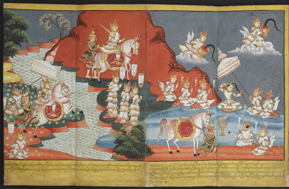 Prince Siddhartha reaches the River Anomā and cuts off his long topknot of hair