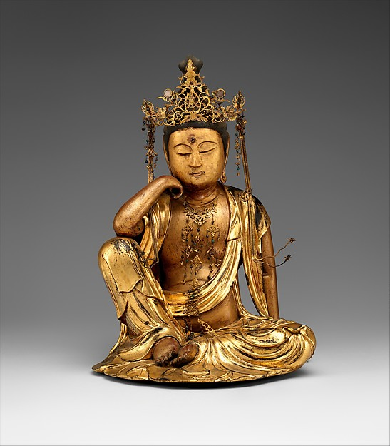 Nyoirin Kannon: Japan, Edo period (1615–1868) Dated 1693.  Wood with gold, gold leaf, lacquer,and crystal inlay. © The Metropolitan Museum of Art
