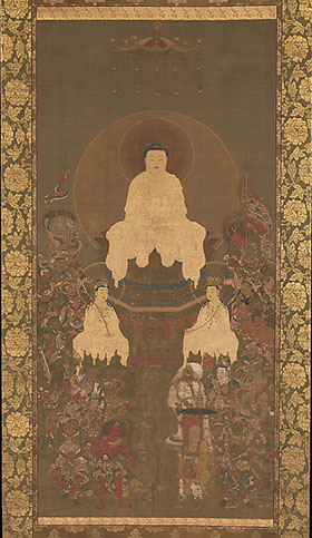 Shakyamuni Triad with the Sixteen Protectors of the Great Wisdom Sutra. Nanbokuchō period (1336–92)