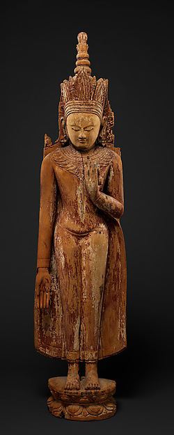 Burma: Pagan period. 12th–13th century. Wood with traces of red lacquer, gesso and gold leaf.