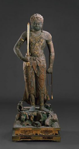 Fudō uses his sword to cut through ignorance and his lasso to reign in those who would block the path to enlightenment.