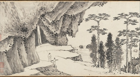明 沈周 , 文徵明 合璧山水圖 卷 Joint Landscape Shen Zhou (1427–1509) & Wen Zhengming (1470–1559) Ming dynasty ca. 1509 and 1546 China