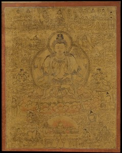 Sadaksari-Lokeshvara Surrounded by Manifestations and Monks (Avalokiteshvara) C15th, Tibet. © The Metropolitan Museum of Art