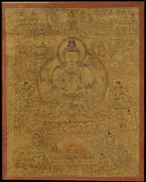Sadaksari-Lokeshvara Surrounded by Manifestations and Monks (Avalokiteshvara) C15th, Tibet. © The Metropolitan Museum of Art