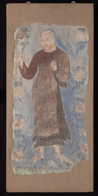 Monk Holding a Lotus,(Pigments on mud plaster) Kizil kingdom, ca. 6th–7th century. © The Metropolitan Museum of Art