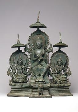 Enthroned Buddha Attended by the Bodhisattvas Avalokiteshvara and Vajrapani, ndonesia (Java), 10th century, © Metropolitan Museum of Art