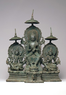 Enthroned Buddha Attended by the Bodhisattvas Avalokiteshvara and Vajrapani, ndonesia (Java), 10th century, © Metropolitan Museum of Art