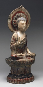 Seated Buddha Shakyamuni, the Right Hand in Abhaya Mudra, the Left Hand Holding a Jewel, Chinese, late 6th century. © Harvard Art Museums/Arthur M. Sackler Museum, Bequest of Grenville L. Winthrop