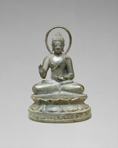 Seated Transcendent Buddha Vairochana in Vitarka Mudra representing the discussion and transmission of the teachings by the Buddha. Central Javanese period, late 9th century © Metropolitan Museum of Art.