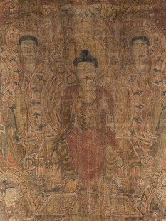According to Buddhist tradition, Maitreya (Chinese, Mi-le) is the Buddha of the Future, destined to succeed Sakyamuni (the Historical Buddha) as the Enlightened One in the next age. Until then, Maitreya resides in the Tusita Heaven as a bodhisattva, waiting to descend to Jambudvipa (the earth)