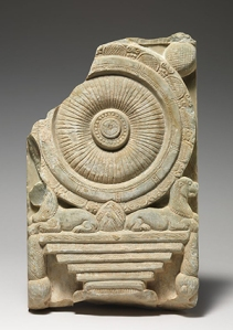 """Dharmachakrastambha'"" (Buddhist Wheel of the Law Pillar) Relief,2nd–3rd century A,D. India (probably Nagarjunakonda, Andhra Pradesh) © The Metropolitan Museum of Art"