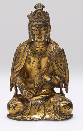 Seated Bodhisattva Manjusri (Wenshu Pusa), Wearing a Crown and Holding an Accordion-Fold Sutra. Manjusri, East Asia, late 8th-9th century © President and Fellows of Harvard College
